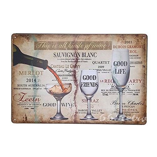Wein-clip (66retro das ist alle Arten von Wein, Vintage Retro Metall blechschild, Wand Deko Schild, 20cm x 30cm)