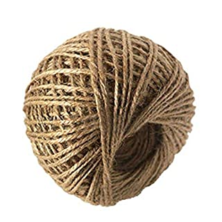 VALINK 1 Roll 50M Natural Hessian Burlap Jute Rope, Twine Cord, Hemp Rope String, 2mm Rustic Wrap Gift Packing String Wedding Party Decoration