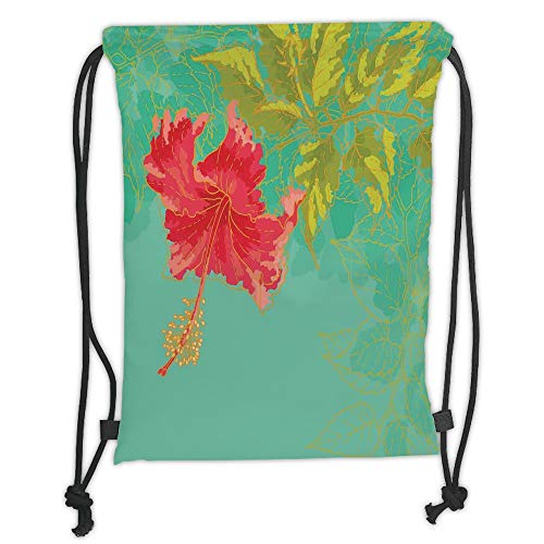 Fashion Printed Drawstring Backpacks Bags,Watercolor Flower,Colorful Drawing of Hubiscus Flower with Pastel Tones Spring Rural Floral,Green Teal Red Soft Satin,5 Liter Capacity,Adjustable String C