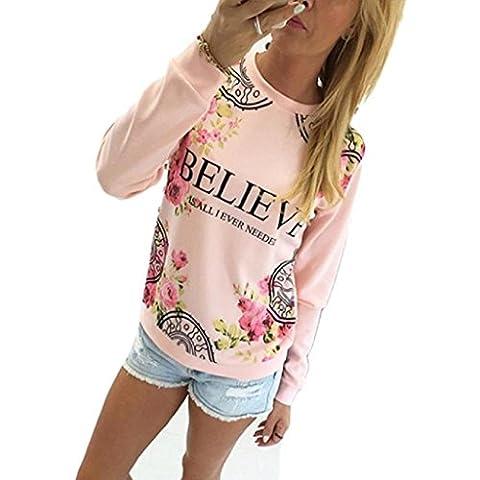Ineternet Femmes Floral imprimer Sweatshirt Hoodies T-Shirts Manche longue vrac Blouse (XL, Rose)