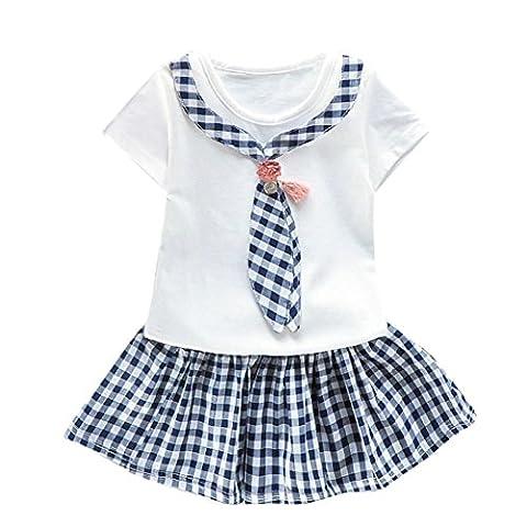 Bekleidung Longra Baby Mädchen Kleidung Kurzarm Karo Tops T-shirt+ Tutu Kleid Sommer Kleider (0-24Monate) (90CM 6Monate,