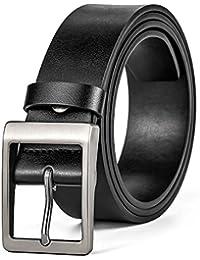MUCO Cinturón para hombre Cinturones de hebilla cinturón casual Piel Negro  Adecuado para jeans ... e17c72ba3f15