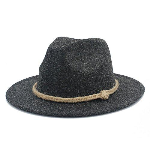 (YAJIE-Hüte, Retro breiter breiter Fedor Hut der Wollfrauen für Laday-Kaschmir-Jazz-Kirchen-Kappe Herr Panama-Sombrero-Spitzenhut Hanfseil (Farbe : 4, Größe : 57-58 cm))