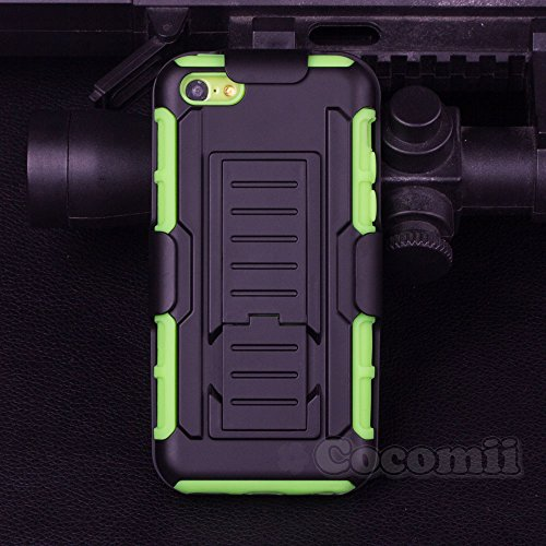 iPhone 5C Coque, Cocomii Robot Armor NEW [Heavy Duty] Premium Belt Clip Holster Kickstand Shockproof Hard Bumper Shell [Military Defender] Full Body Dual Layer Rugged Cover Case Étui Housse Apple (Bla Green