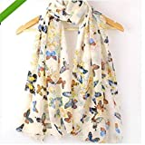 LnLyin Chiffon Butterfly Floral Print Neck Long Shawl Scarf Scarves Wrap for Women Ladies