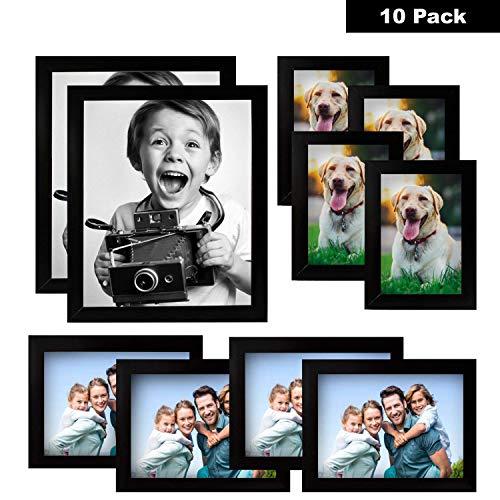 Cornice portafoto - confezione da 10 cornici foto 20x25cm, 10x15cm, 13x18cm- cornice multipla in legno, nero - grande kit per foto a espositori - finitura liscia