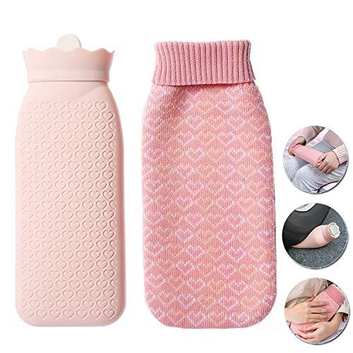 HJHY@ Baby Silikon Wärmebeutel Klassische Premium Natur Transparente Mit Strickabdeckungen Abnehmbare Und Waschbare Sichere Bezug Flauschig Bettflasche Für Bauch, Rücken Und Nacken L -