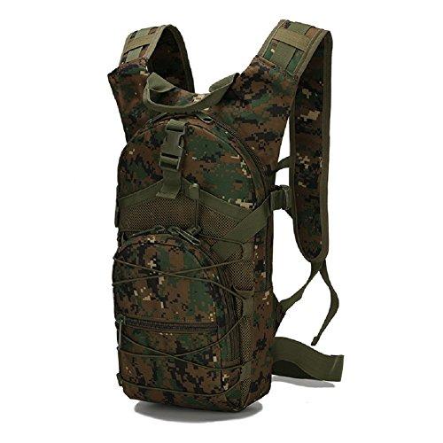 Z&N Backpack Militärfans Tarnung wasserdichtes Oxford Tuch tragbarer taktischer Rucksack Outdoor-Reittasche Campingrucksack Wanderrucksack 15L F