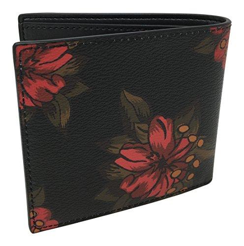Coach Men's Double Billfold Wallet Hawaiian Lilly Floral Red Multi F32304