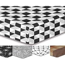 decoking Premium 93122–Sábana bajera (200x 220cm Puente 30cm blanco y negro diseño geométrico sábana bajera de cama de microfibras gaardi Black White HYPNOSIS Collection Mystery 1