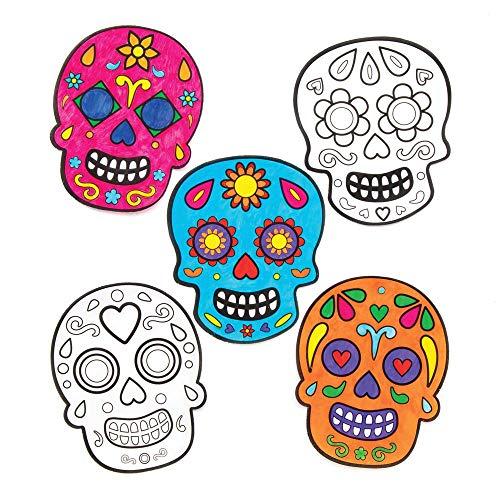 """Baker Ross Fensterdekorationen """"Tag der Toten"""" zum Ausmalen für Kinder – für Bastelarbeiten und Dekorationen zu Halloween (12 Stück)"""