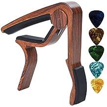capotasto chitarra Capo Chitarra Perfetto per Chitarra Acustica, elettrica o chitarra, Ukulele, banjo, mandolino, basso con 5 plettri per chitarra di niafeya, Palissandro