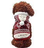 Dehots Hundepullover Hundejacke Hundemantel Winter für Kleine Hunde Haustier Hundewelpen Kleidung Weihnachten mit Kapuze Wintermantel/Winterjacke Weihnachts kostüm