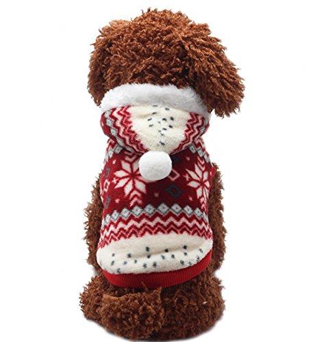 YaoDgFa Hundepullover Hundejacke Hundemantel Winter für Kleine Hunde Haustier Hundewelpen Kleidung Weihnachten mit Kapuze Wintermantel / Winterjacke weihnachts kostüm Rot (Mädchen Hund Weihnachten Kleidung)