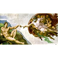 inkl Gobelin Stickbild Stickpackung Michelangelos H/ände halber Kreuzstich 60x30cm Sticktwist cod.480