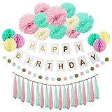 HappyHours Geburtstag Deko, 38 Stücks Geburtstagsdeko Set Papier Pompoms, Mint Wabenbälle, Happy Birthday Girlande, Partydekoration Set