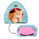 Urijk 2 en 1 Maison&Coussin Chat Igloo Chat Confortable Nid Chiot Ultra Doux Respirant Portable...