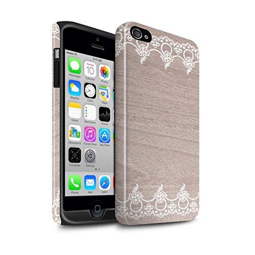 STUFF4 Glanz Harten Stoßfest Hülle / Case für Apple iPhone 4/4S / Rustikales Muster / Fein Spitzenborte Holz Kollektion Fein Rand