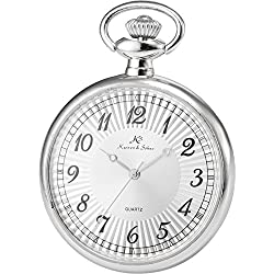 KS Men Women Pocket Watch Open face Series Analog Japanese Quartz Alloy Case Chain KSP055