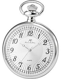 KS KSP055 - Reloj Unisex de Bolsillo Cuarzo Japonés, Open Face Series