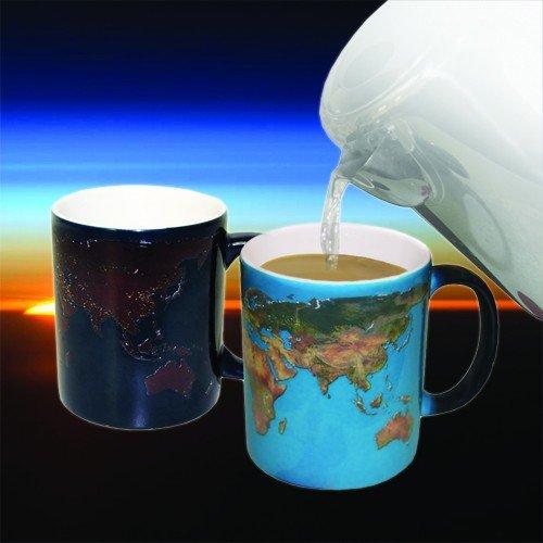 Mappa del mondo sensibile al calore tazza di porcellana thumbsUp! Giorno e Notte Mug,Mappa del (Grande Cina Tazza Di Caffè)