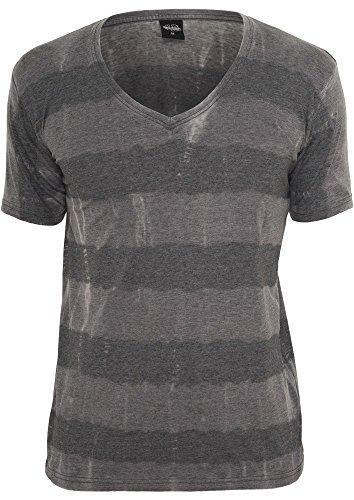 Urban Classics TB532 Fantasy Stripe Burnout V-Neck Tee T-shirt Collo V Manica Corta (Dark Grey, XL)