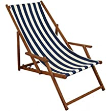 Erst Holz Gartenliege Blau Weiß Liegestuhl Sonnenliege Strandstuhl  Deckchair Buche Dunkel Klappbar 10