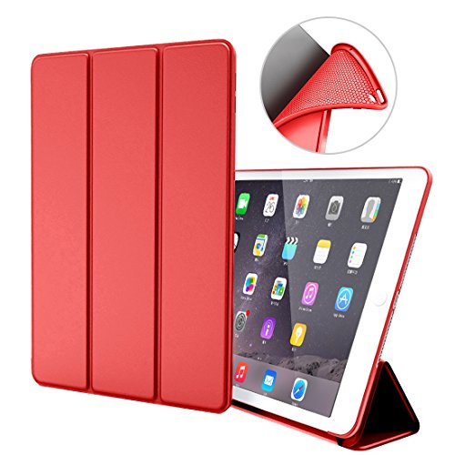 Custodia per iPad Air 1,Goojodoq Smart Cover con funzione Auto Sleep/Wake Magnetico PU Antiurto in Silicone Morbido TPU Custodia a Libro per Apple iPad Air 1 Rosso