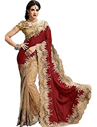 Saree Surat Women's Velvet, Net Saree With Blouse Piece (Ssmgnt93040, Maroon, Beige, Free Size)