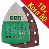 HKB 10 St. Klett-Schleifblätter 105x152 mm K80, Mouse velcro disk für Bosch PSM 80 A, PSM 100 A, PSM 160 A, PSM 200 AGE, Prio, Ventaro, Skil Octo 7208, Artikel-Nr. 50271