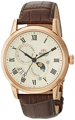 Orient Men's Analog Japanese-Automatic Watch with Leather Calfskin Strap FAK00001Y0