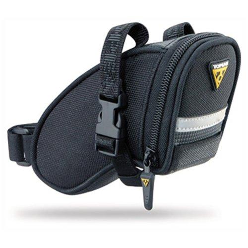 Topeak Aero Wedge Pack Strap 15000007 Bolsa para sillín, con correas, con fijación para luz trasera, para bicicleta, bicicleta de montaña, color negro, tamaño extra-small