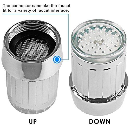 365-Shopping 2er Set 3-farbige LED Wasserhahn Design WaschtischarmaturenWasserhahnaufsatz Beleuchtung - 3