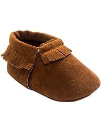 Inch Blue Zapatos de niñas niños cochecito de suela suave, funda de piel, vía Láctea, color rojo, color Rojo, talla 0-6 meses