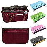 fenrad Doppel-Reißverschluss Multifunktions Handtaschenordner Handtasche Organizer Reisetasche Trading Tasche (Red wine)