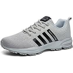 Sollomensi Zapatos Para Correr EN Montaña y Asfalto Aire Libre y Deportes Zapatillas de Running Padel Para Hombre Deportivas EU 41 C Gris