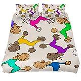 TIZORAX Bettwäsche-Set mit Kissenbezügen, Motiv Pudel, 3-teilig Bettwäsche-Set Knitter- und lichtbeständig, Mehrfarbig, California King 106 x 92 \ 20 x 36 inch