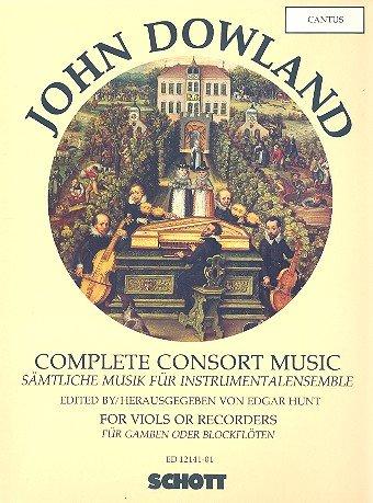 Sämtliche Musik für Instrumentalensemble: Werke für Gamben oder Blockflöten. 5 Streicher oder 5 Blockflöten (SATTB) und Basso continuo (Laute, Noten und Tabulatur; Cembalo, Orgel). Cantus.