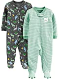 Simple Joys by Carter's Baby Jungen 2er Pack Baumwolle Fuß Sleep and Play ,Dino/Stripe ,6 - 9 Months
