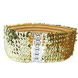 TOOGOO(R) Gold Neu Dame Mode Pailletten Elastische Stretch-glaenzende Taillenband Laessige Guertel
