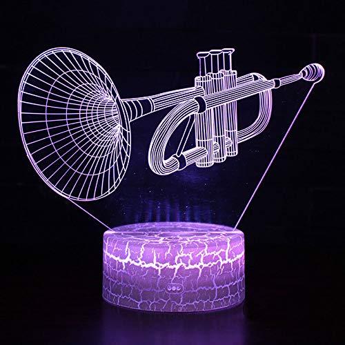 LNHYX Musikinstrument Trompete Thema 3D Lampe Led Nachtlicht 7 Farbwechsel Touch Stimmung Lampe Weihnachtsgeschenk