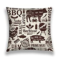 "Xunulyn Throw Pillow Cushion Cover, 18""X 18"" typographic barbecue background bbq meat vegetable"