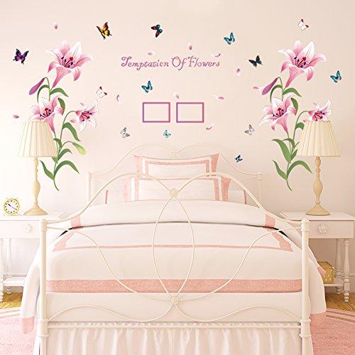 Romantische warme rosa Lilie Dekoration Wandaufkleber Schlafzimmer Nachttisch, zwei Sätze rosa Lilie, groß (Groß Nachttische Schlafzimmer-set Von 2)
