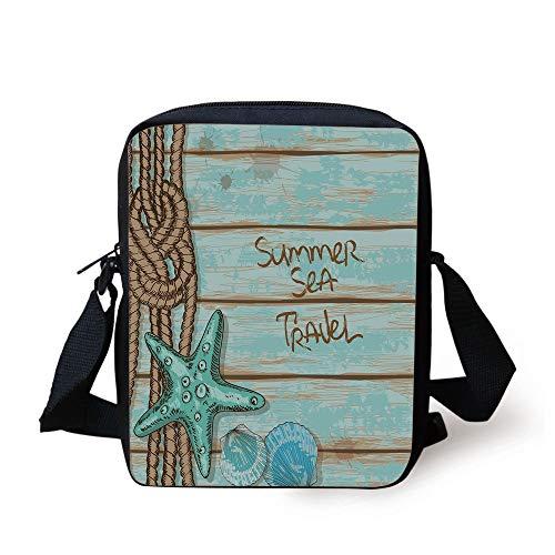 Starfish Decor,Summer Sea Travel Retro Boards of Ship Deck Rope Scallops Decorative,Brown Mint Green Turquoise Print Kids Crossbody Messenger Bag Purse -