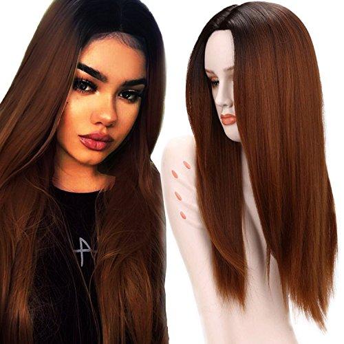 Ani · Lnc 65 cm Synthétique Ombre incliné Cosplay Perruques pour les Femmes Longue Droite Résistant A La Chaleur Cheveux Perruque Noir Brune