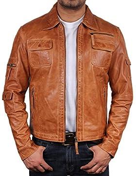 Brandslock Para hombre del motorista del cuero de la chaqueta de la vendimia Slim Fit prendas de vestir exteriores