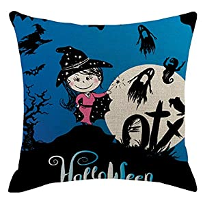 Alwayswin Leinen Kissenbezug Halloween Kissenbezug Dekorative Sofa Kissenhülle Kürbis Kissenbezug 45x45cm
