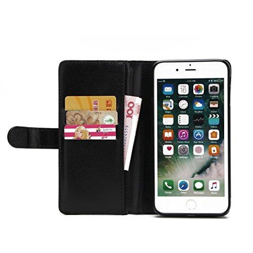 Hülle für iPhone 7 plus , Schutzhülle Für IPhone 7 Plus, große Menge Solid Color Leder Tasche Tasche mit Reißverschluss mit abnehmbarer Rückenabdeckung ,hülle für iPhone 7 plus , case for iphone 7 plu Black