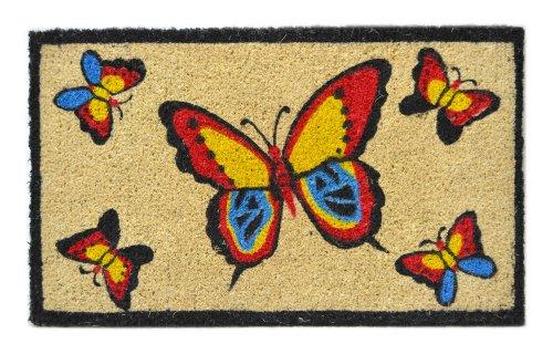 Imports Decor Fußmatte, Kokosfaser, 45,7 x 76,2 cm Butterfly (Schmetterling) weiß - Rechteck, Tan Teppich