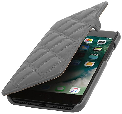 StilGut Book Type Case, Hülle Leder-Tasche für iPhone 8 Plus & iPhone 7 Plus. Seitlich klappbares Flip-Case aus Echtleder für das Original iPhone 8 Plus & iPhone 7 Plus (5,5 Zoll), Schwarz Nappa - Kar Grau Nappa - Karat